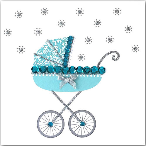 New Baby Blue Pram Card