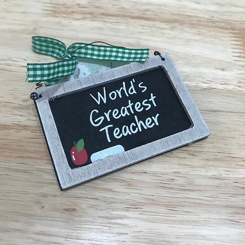 Wooden Hanging Sign -  World's Greatest Teacher