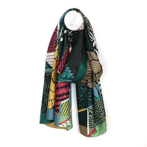 POM Silky scarf with animal prints and stripes in a green mix