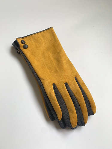 POM - Faux Suede Two Tone Button Gloves