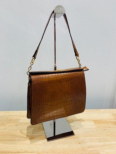 Tan Croc Print Shoulder Bag