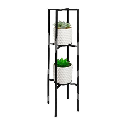 Black Metal Planter With Artificial Plant
