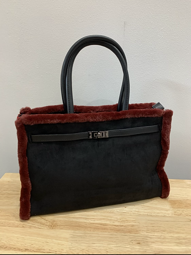 Black Tote Bag with Red Faux Fur Trim