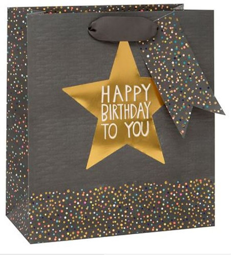 Glick - Medium Grey Birthday Star Gift Bag