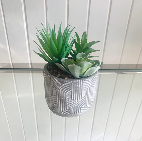Embossed Cement Pot With Artificial Plant
