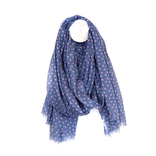 POM Cotton scarf in blue with pink multi star print