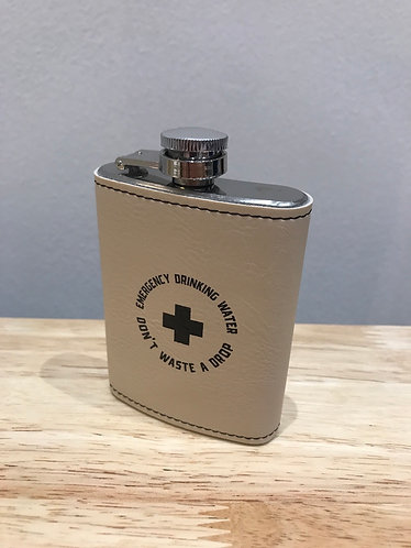 Leatherette wrapped 4oz stainless steel hip flask - EMERGENCY DRINKING WATER