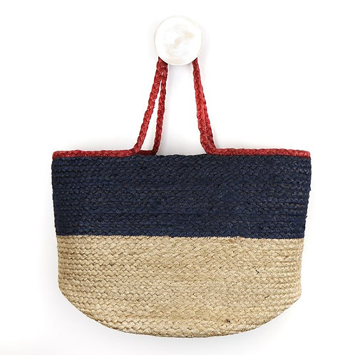 POM natural and navy jute bag