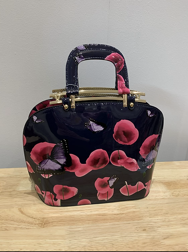 Navy Floral Patent Bowler Style Bag