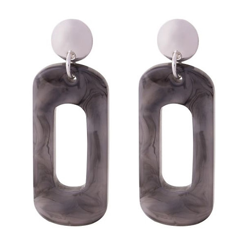 D&X - Silver Grey Resin Earrings