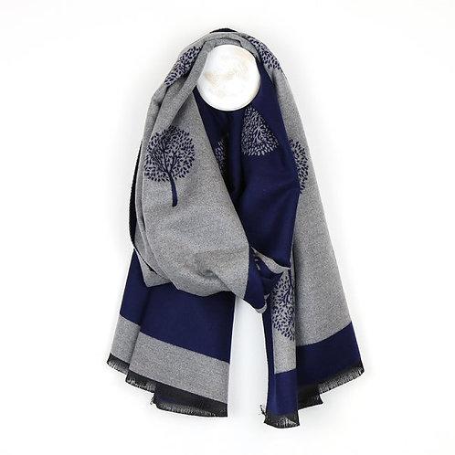 POM Navy and grey reversible jacquard tree scarf