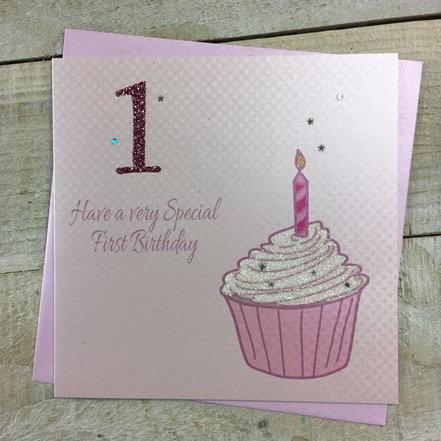 White Cotton Cards - 1st Birthday (Pink Cupcake)