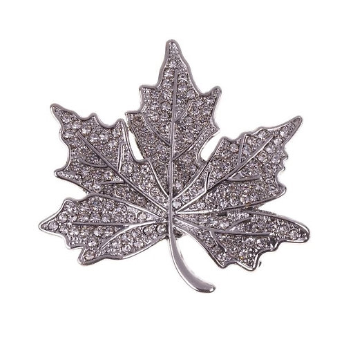 D&X - Crystal Leaf Magnetic Brooch