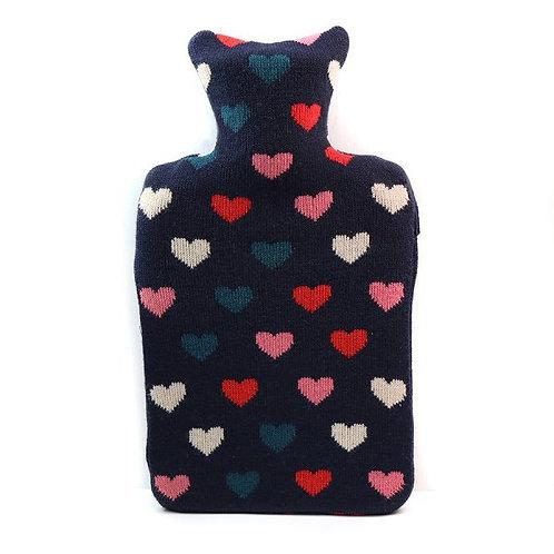POM - Heart Cover Hot Water Bottle (Navy)