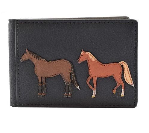 Mala Leather - Best Friends Horse ID/Travel Card Holder Grey