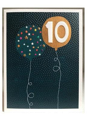 Blue & Gold Balloon '10' Card