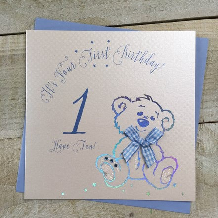 White Cotton Cards - 1st Birthday (Blue Teddy)