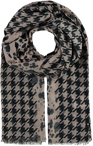Fraas - Light scarf with houndstooth and animal print
