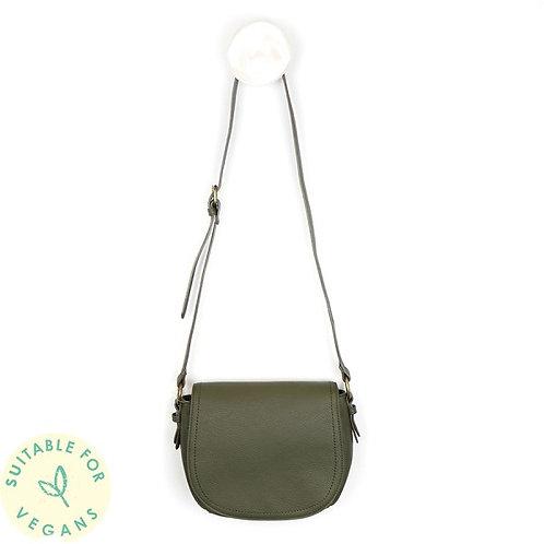 POM - Olive Vegan Leather Saddle Bag