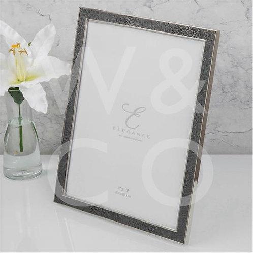 Elegance Nickel Plated Grey Faux Shageen Frame - 8x10