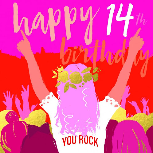 Pink Happy 14th Birthday You Rock Card