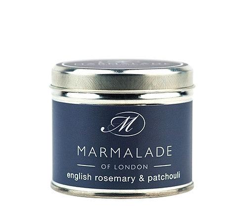Marmalade - English Rosemary & Patchouli Medium Tin Candle