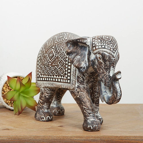 PATTERNED EBONY FINISH ELEPHANT ORNAMENT