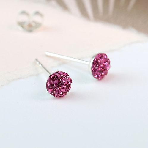 POM - Sterling Silver Rose Crystal Stud Earrings