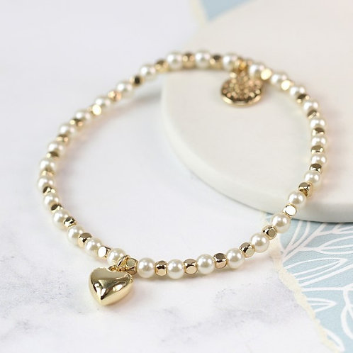 POM - Pearl and golden bead bracelet with gold plated heart