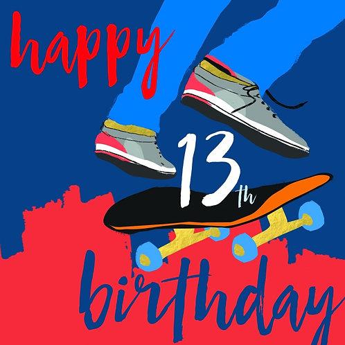 Happy 13th Birthday Skate Board Card