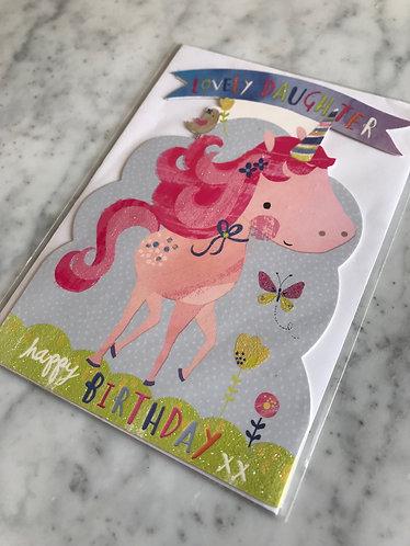 Lovely Daughter Unicorn Birthday Card