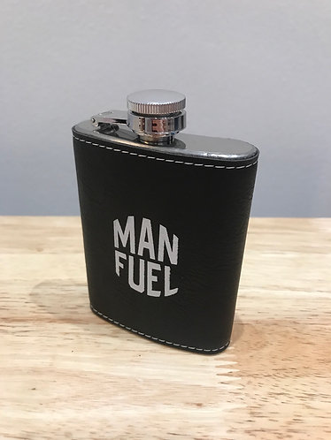 Leatherette wrapped 4oz stainless steel hip flask - MAN FUEL