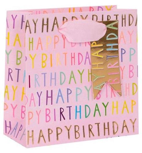 Glick - Small Pink Happy Birthday Gift Bag