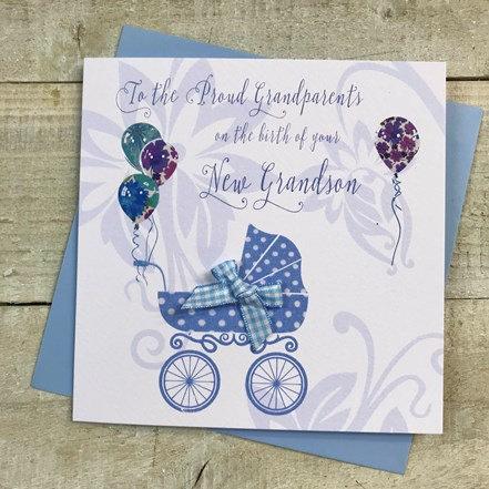 White Cotton Cards - New Grandson Pram