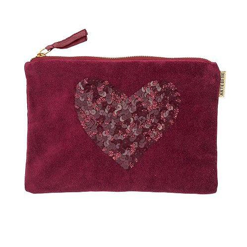Artebene - Velvet sequins heart cosmetic bag