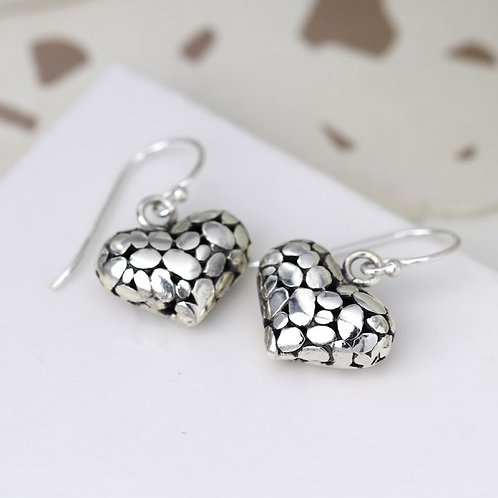POM - Sterling Silver Pebble Puff Heart Earrings