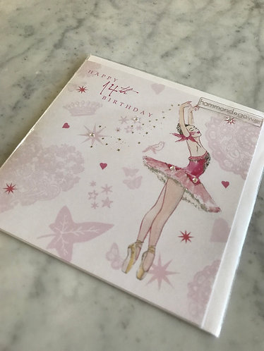Happy 14th Birthday Ballerina Card