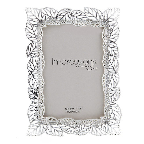 Silver Plated Filigree Leaf Frame - 4x6