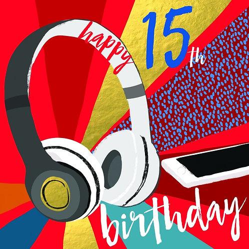 15th Birthday Headphones Card