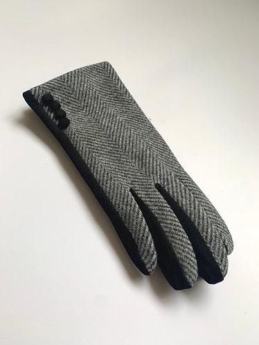 POM - Herringbone Wool/ Faux Suede 3 Button Glove