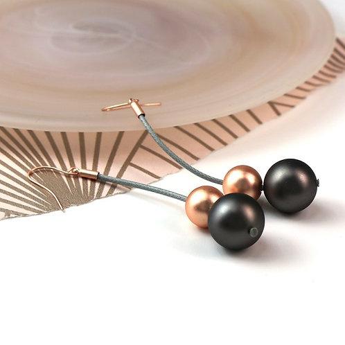 POM - Grey cord and mixed metallic double bead earrings