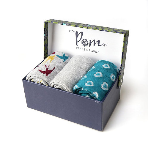 POM - Boxed bamboo trio sock set (Multi Swallows, Grey and Teal