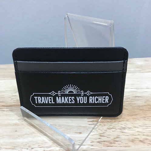 Leatherette card wallet - TRAVEL MAKES YOU RICHER