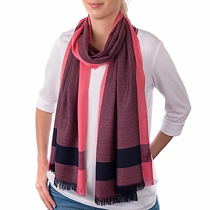 Carrie Elspeth Salmon Pink & Navy Scarf