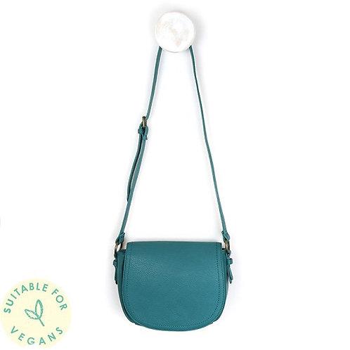 POM - Teal Vegan Leather Saddle Bag