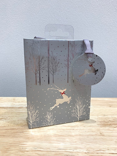 Glick - Silver Reindeer Gift Bag (Small)