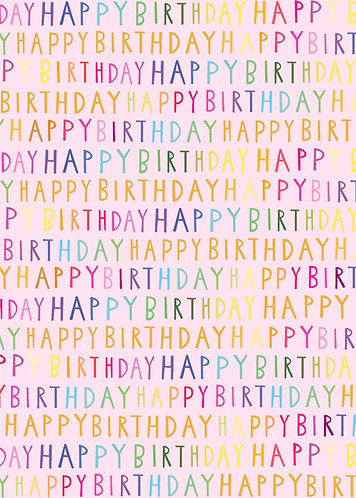 Glick - Pink Happy Birthday Wrapping Paper