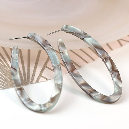 POM Grey mix resin and shell oval shaped hoop earrings