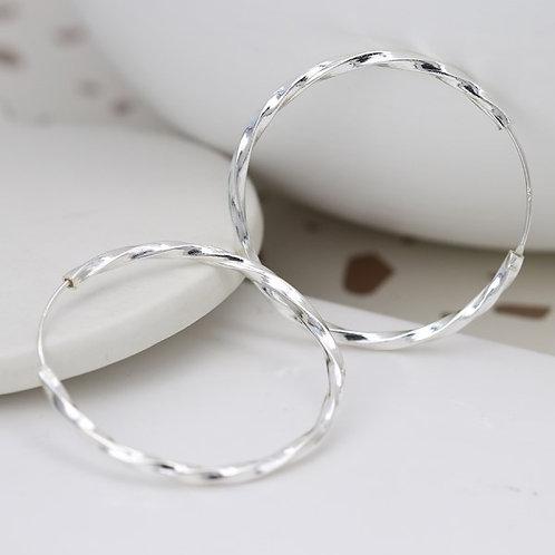 POM - Large Silver Twist Hoop Earrings
