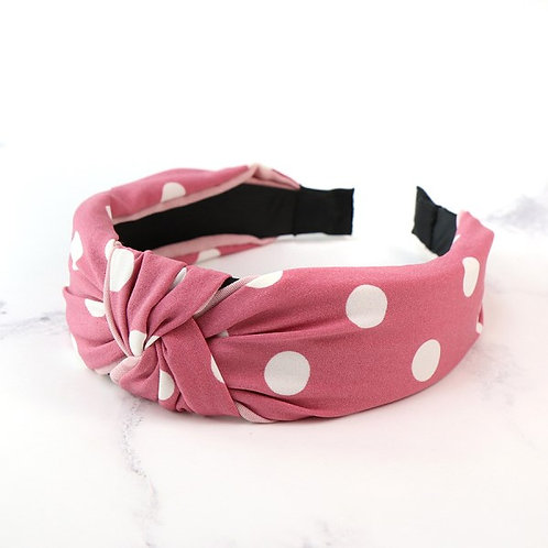 POM Pink fabric covered headband with white polkadots